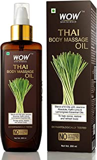 WOW Skin Science Thai Body Massage Oil for Reviving and Refreshing -Infused with Blend of 6 Oils with Jasmine Absolute, Ka...