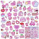 Kids Stickers 4 Different Sheets, 3D Puffy Sticker for Kids Girls, Bulk Scrapbooking, Foam Animal Bear Heart Stickers for Girls Valentine's Day Gift, Birthday Gift, Party Supplies, Reward