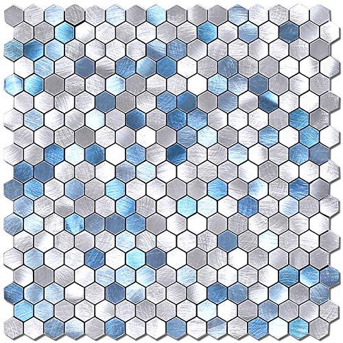 BeNice selbstklebende Metallmosaik Fliesen Hexagon, Küchenwand Fliesen Aufkleber einfache DIY Kamin (Blau Silber, 5Matten)