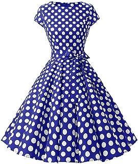 Women's Vintage Polka Dot 1950s Audrey Retro Rockabilly Prom Dress 50's 60's A-Line Cocktail Party Swing Dress
