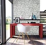 Steintapete in Weiß   schöne edle Tapete im Steinmauer Design   moderne 3D Optik für Wohnzimmer, Schlafzimmer oder Küche inklusive der Newroom-Tapezier-Profi-Broschüre, mit Tipps für perfekte Wände - 4
