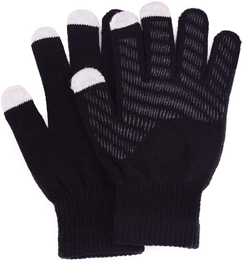 AODONG Womens Winter Gloves Knit Warm Thick Soft Wool Lining Elastic Cuff for Women Men