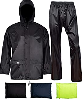 Rain Jacket with Pants for Men Women Waterproof Rain Coat 3-Pieces Ultra-Lite Suits (X-Large, Black)