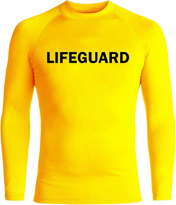 eBodyboarding Lifeguard Rash Guard Long Sleeve | Mens Rashguard | Beach Shirt UV Protection - Yellow/Black - YM/10