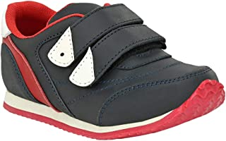 Hopscotch Tuskey Shoes Boys Genuine Leather Solid Double Closure Shoes in Black Color