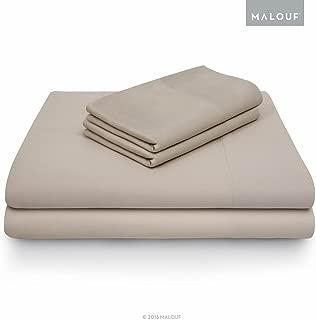 MALOUF 100% Rayon from Bamboo Sheet Set-5-pc Set-Split Cal King, Split Cal King, Driftwood