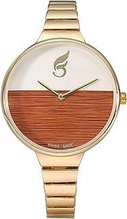VILAM Stainless Steel Casual Analogue Dual Color Dial Elegant Bracelet Quartz Women's Wrist Watch (Brown)
