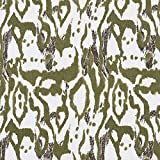 Leinen Viskose Mix Animalprint – weiss/khaki —