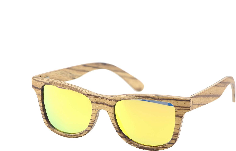 OriginZ Plusieurs styles et couleurs Lunettes de soleil polarisées en bois Femme Homme UV 400 Yellow Zebra
