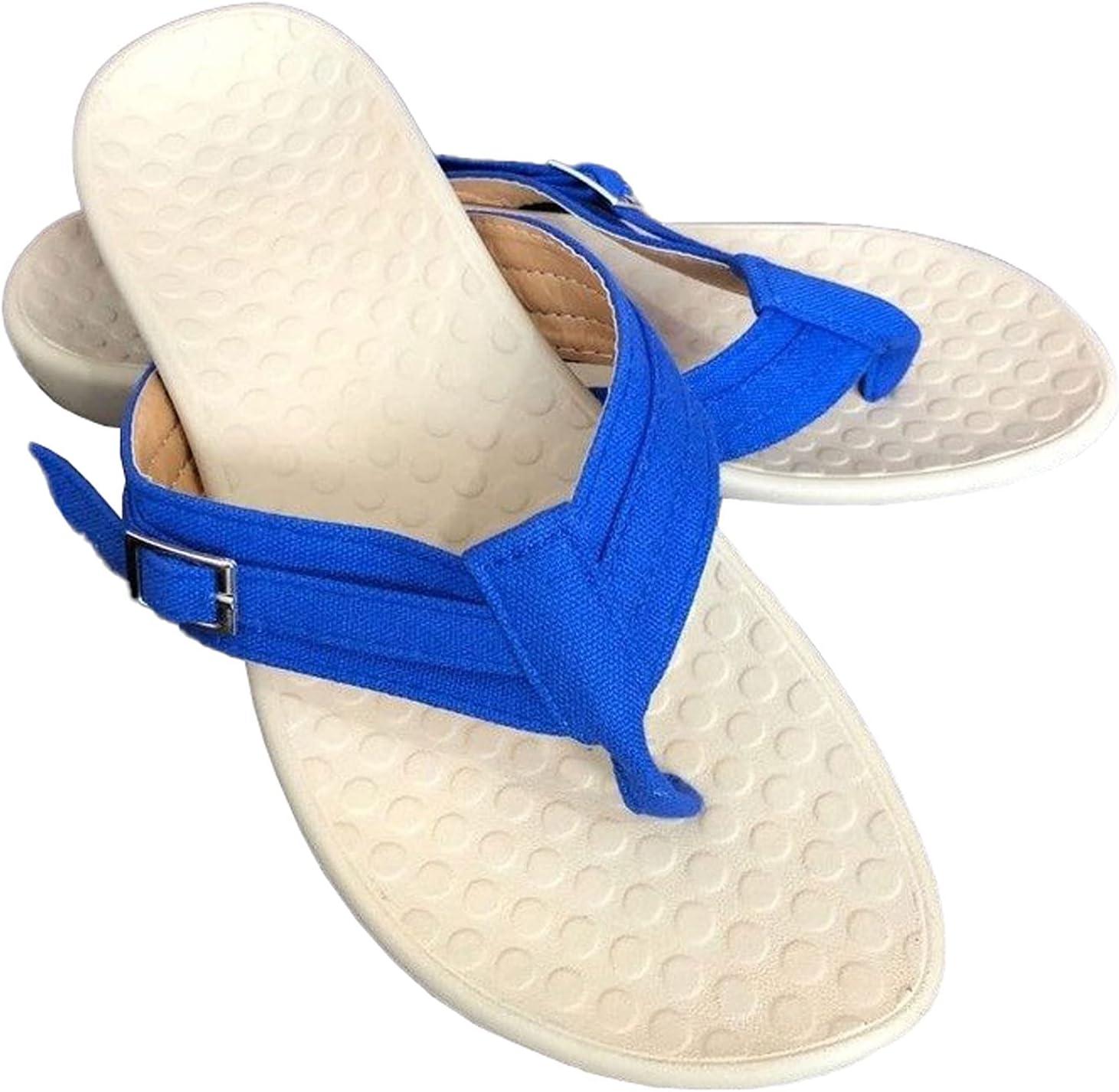 COOLL Flip Flops Women,Adjustable Metal Buckle Sandals,Orthotic Sandals,5-12 Sizes Royal Blue-7