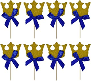 HOKPA Gold Crown Cupcake Toppers, with Blue Ribbon Boy Birthday Decorations Royal Prince Kids' Gathering DIY Home Theme Party Food Fruit Cake Picks for Baby Shower Decor(20PCS Gold)