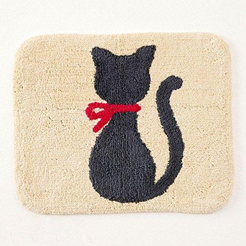リボンキャットマット バスマット ベージュ 猫 ネコ