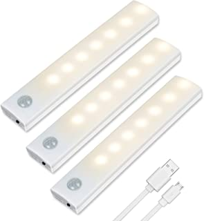 Vicloon Iluminacion Luz sin cables Portatil, 3 Pc Luz Armario con Sensor de Movimiento con Auto en/Apagado, USB Recargable LED Armario con 2 Tiras Magnéticas para Escalera, Cocina (Blanco cálido)