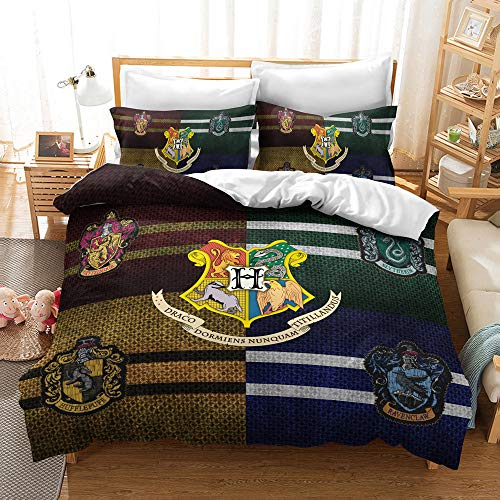 Rishx-Home Housse De Couette Et Taie d'oreiller 3D Literie Réversible en Fibre De Polyester Impression De Harry Potter Cadeaux pour Enfants Et Jeunes (C,EU King 240x220cm)