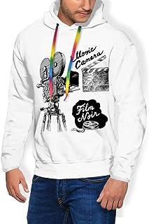 GULTMEE Men's Hoodies Sweatershirt,Antique Movie Camera Hand Drawn Style Art Film Noir Genre Themed Print,5 Size