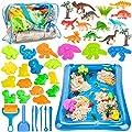 Play Sand for Kids, 3lbs Magic Sand, Dinosaur Sand Molds Tools, Dinosaur Figure Toys, Sand Tray and Storage Bag, 44PCS Sandbox Toys Set for Toddlers Kids Boys Grils