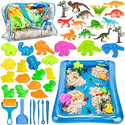 Play Sand for Kids, 3lbs Magic Sand, Dinosaur Sand Molds Tools, Dinosaur Figure Toys, Sand Tray and Storage Bag, 44PCS Sandbox Toys Set for Toddlers Kids Boys Grils