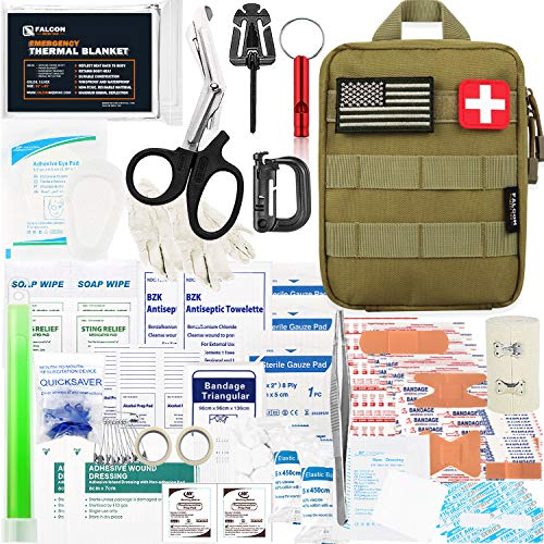 Falcon Medi-Tac 200 Pieces First Aid Kit IFAK Survival Kit Molle System Compatible Pouch, Emergency Kit Gift for Men, Dad, Husband, for Outdoor, Camping, Hunting, Hiking, Home, Earthquake, Disasters