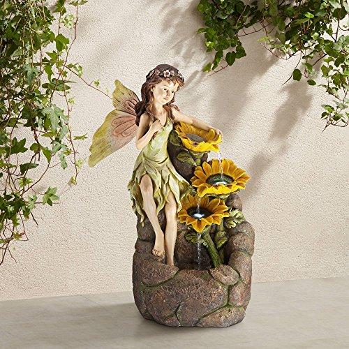 John Timberland Garden Fairy with Sunflowers Outdoor Floor Water Fountain with Light LED 26' High Cascading for Yard Garden Patio Deck Home