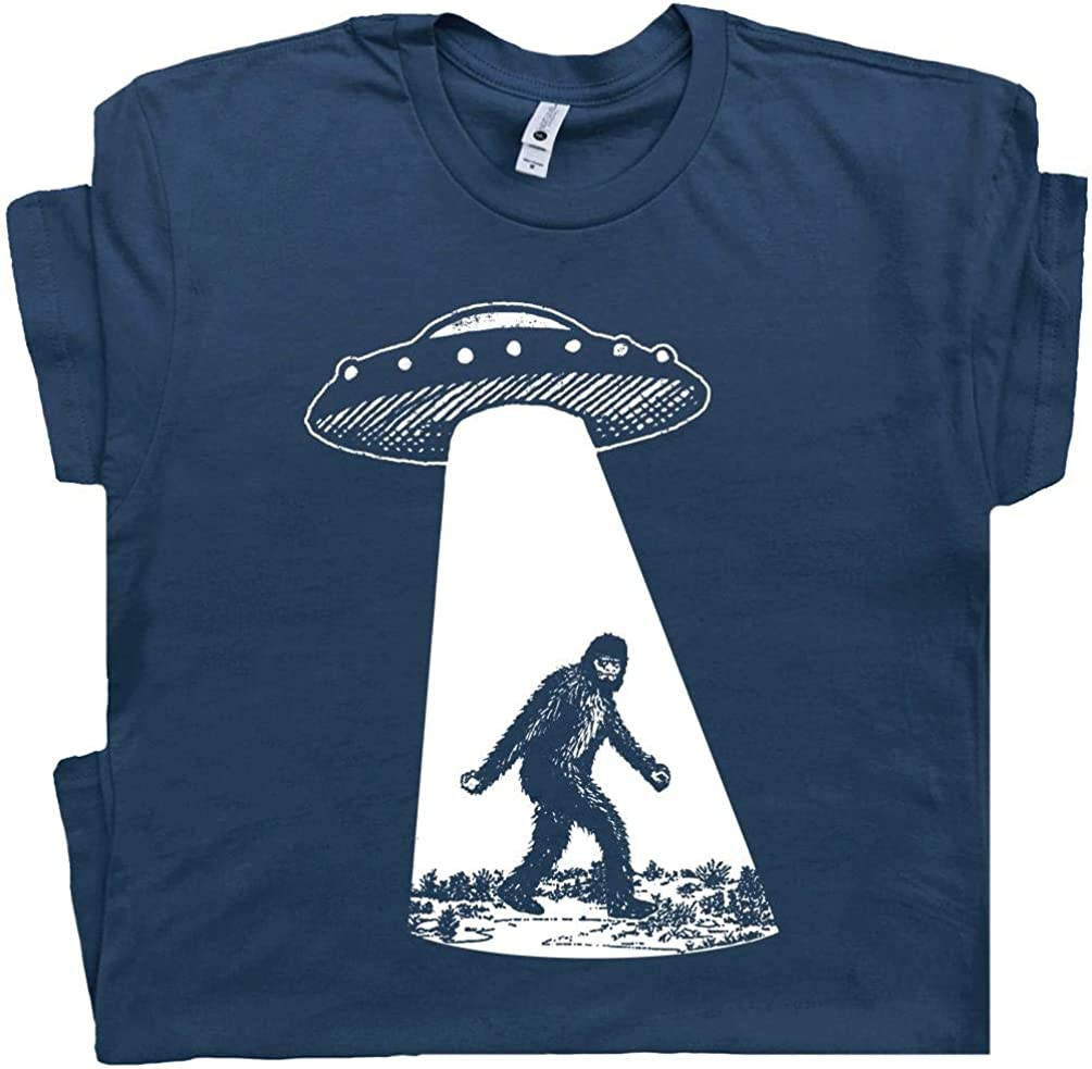 Bigfoot UFO Abduction T Max 86% OFF Shirt Quality inspection Womens Mens Funny Sasquatch Alien