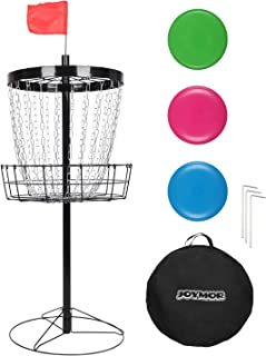 JOYMOR Portable Disc Golf Basket Practice 24-Chain Metal Golf Goals Baskets, Three Golf Discs and Carrying Bag (Black)