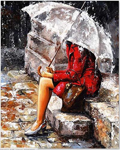 YXMM Street Art Schablone Malerei, ungiftig und lebendige Farben und langlebige Pigmente, geeignet für Anfänger, Studenten und professionelle Maler, Frau mit Regenschirm, 30 x 40 x 50 cm