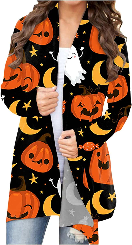UOCUFY Womens Lightweight Cardigans, Womens Halloween Long Sleeve Open Front Funny Pumpkin Cat Ghost Coat Plus Size