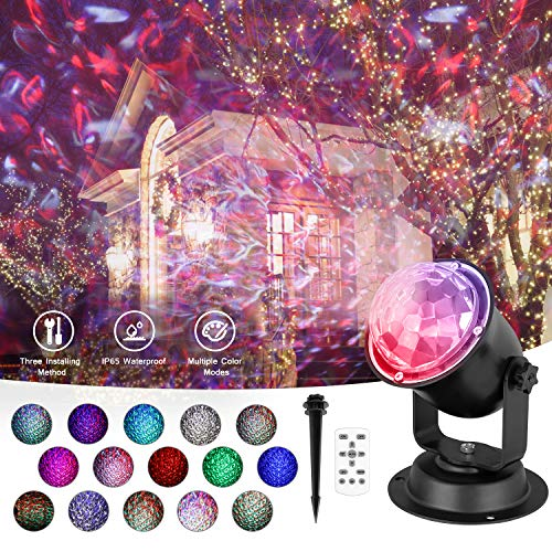 Christmas Projector Lights Outdoor, Ocean Wave Projector with 3D Water Effect Remote Control Timer, Waterproof LED Projector Lamp Holiday Projector for Halloween Wedding Party Landscape Decorations