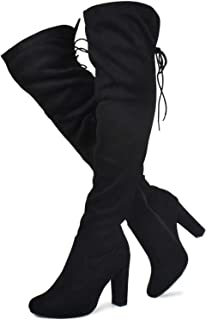 Prime Shoes - Women's Thigh High Stretch Boot - Trendy High Heel Shoe - Sexy Over The Knee Pullon Boot - Comfortable Easy Heel