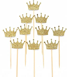 JANOU Gold Glitter Crown Cake Cupcake Topper for Wedding Party Decoration Pack 20pcs