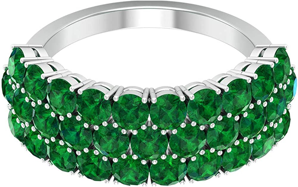 3.72 Ct Lab Created Emerald Gold Ring, Statement Women Partywear Ring, Certified Gemstone Cluster Bridal Promise Ring, Unique Wedding Anniversary Ring, 14K Gold