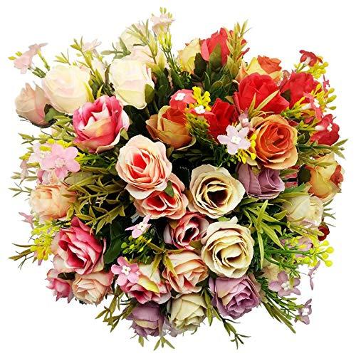 EQLEF Rose Artificiali, Boquets Fiori Fiori Artificiali in plastica Fiori di Seta Finti Rose per Festa Nuziale Decorazione Domestica 4 mazzi (Viola, Rosa Scuro, Rosa Chiaro, Rosso)