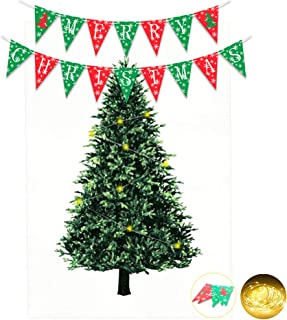 Kicpot Christmas Tree Tapestry, Christmas Party Favors Decoration Wall Hanging Tapestry with LED & Banner for Living Room Bedroom Dorm Decor - Satin 57 x 85 Inch(L)