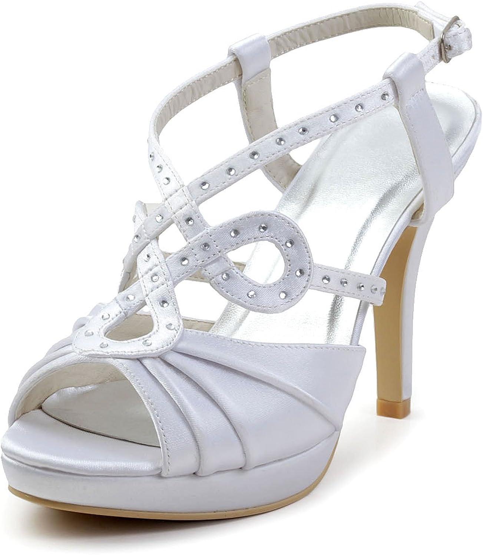 Minishion GYAYL454 Womens Stiletto High Heel Satin Evening Party shoes Bridal Wedding T-Strap Sandals