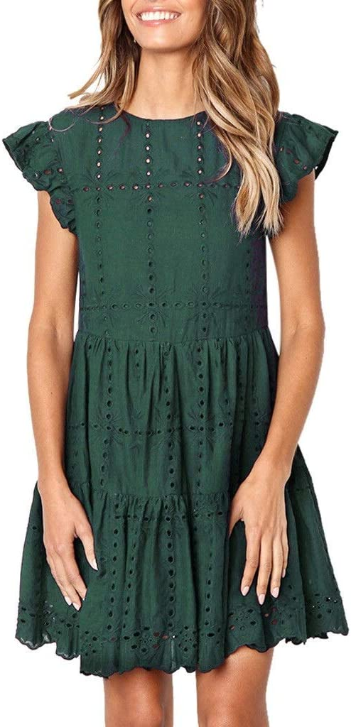 KAKAYO Hollow Out Ruched A-Line Dress Mini Woman Max 77% OFF Ruffles Bargain Sleeve