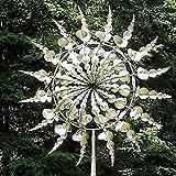 95 cm Einzigartige Metall Windmühle,Windspinner Spinner Skulpturen Windfänger 3D Kreative Sonnen Windspiele Magische Bewegen Sie Sich mit Dem Wind für Hof Patio Garten Terrassen Rasen Dekoration