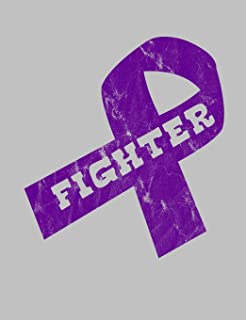 """Fighter: Purple Ribbon Awareness Notebook 7.44"""" x 9.69"""" Lined Journal 120 pages Book"""