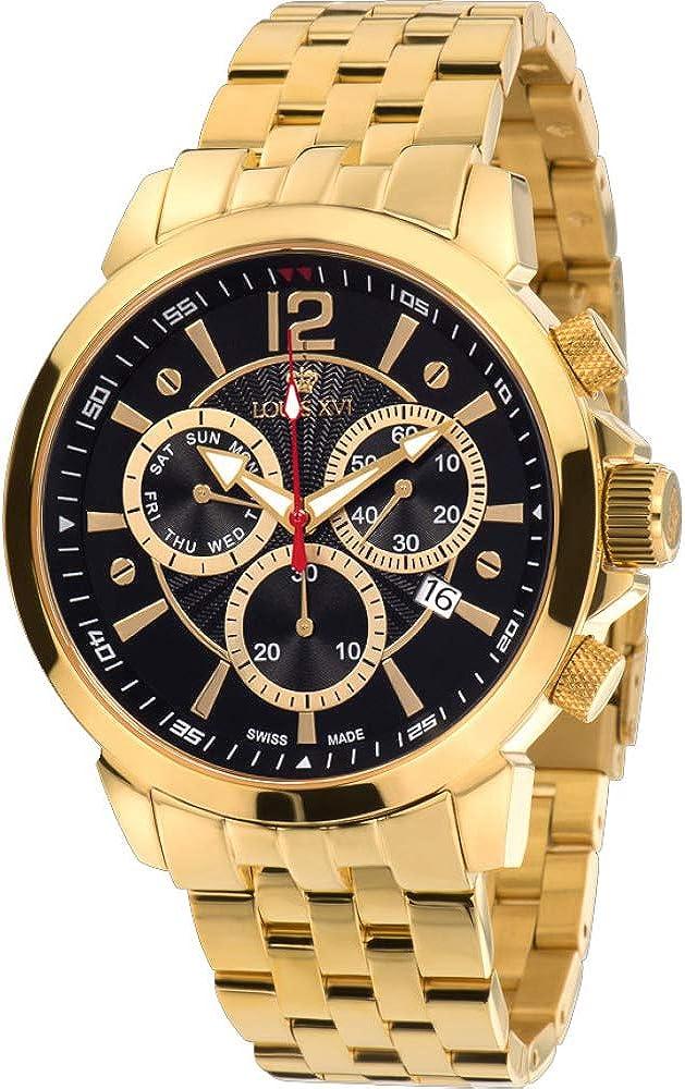 LOUIS XVI Reloj de Pulsera Athos La Gran Pulsera de Acero Inoxidable de Oro con Dial Negro Cronógrafo Analógico Cuarzo de Acero Inoxidable para Hombres 620