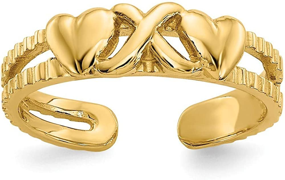 Roy Rose Jewelry 14K Yellow Gold Hearts & X Toe Ring