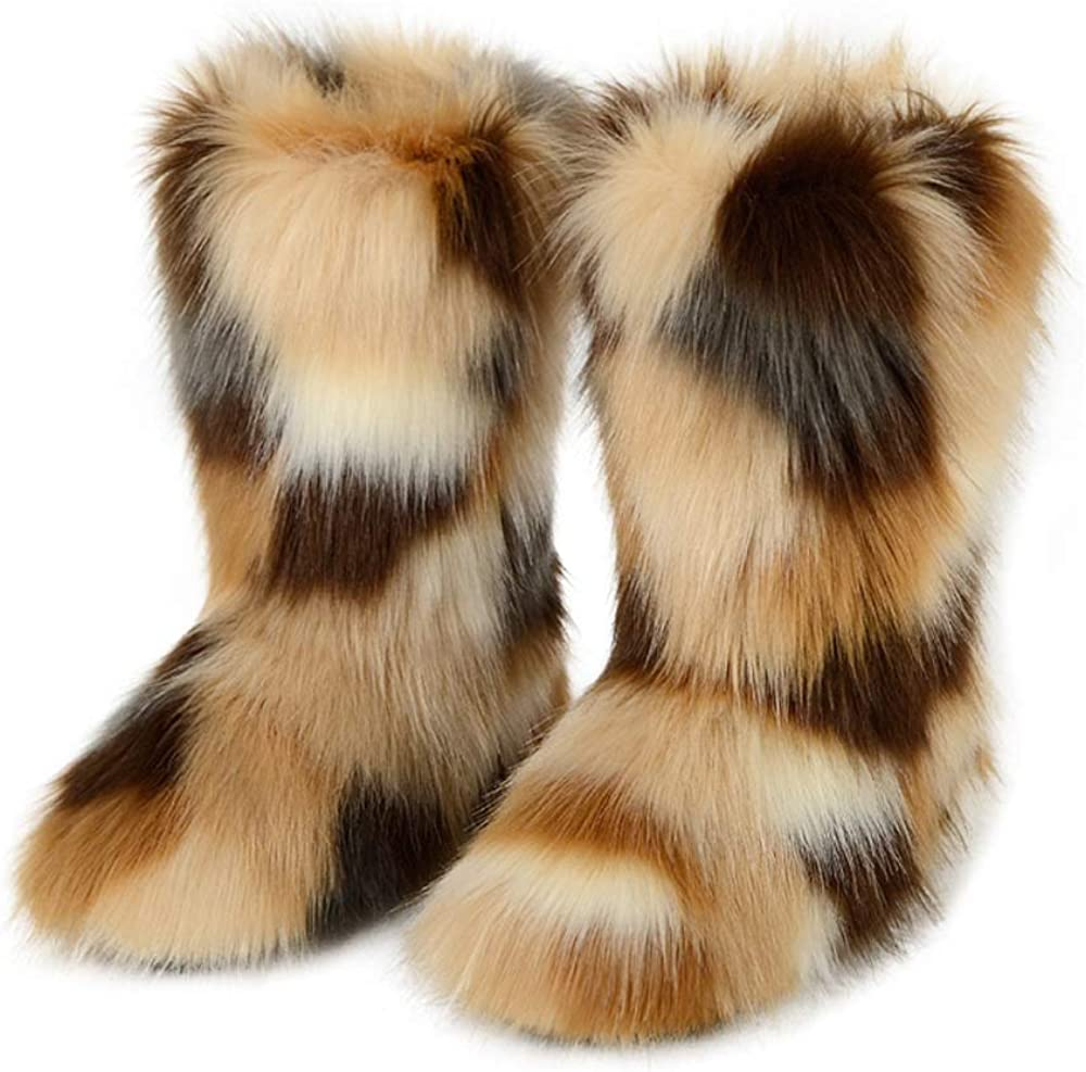 ZOSCGJMY Faux Fur Boots for Women Fuzzy Fluffy Furry Round Toe Suede Winter Snow Boots Flat Shoes
