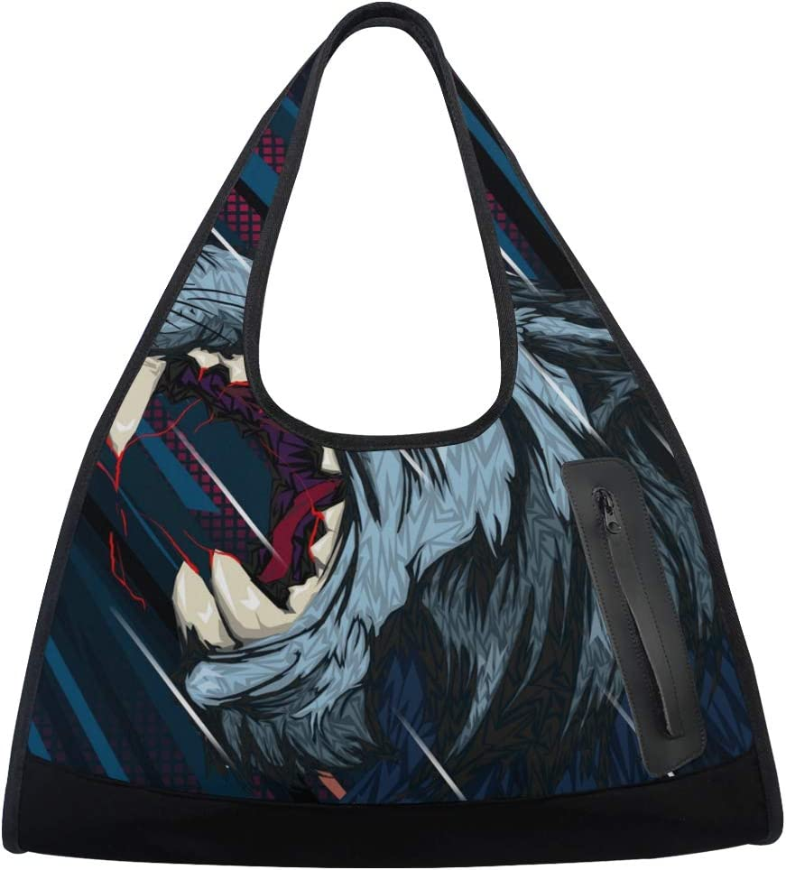 Angry Wolf Women Sports Gym Regular dealer Bag Latest item Trave Multi-Function Nylon Totes