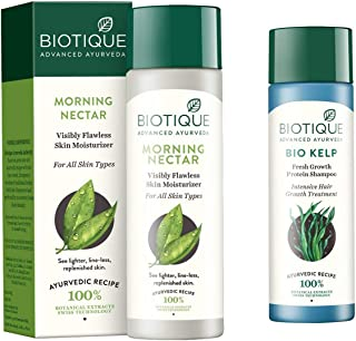 Biotique Morning Nectar Flawless Skin Lotion for All Skin Types, 190ml And Biotique Bio Kelp Fresh Growth Protein Shampoo,...