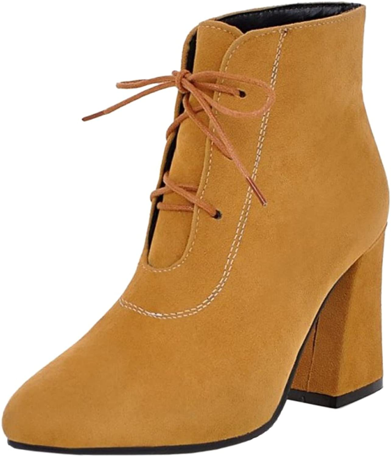 RizaBina Women Western Chunky High Heel Lace Up Ankle Boots Summer Booties