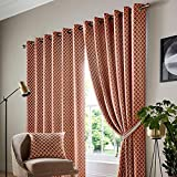 Alan Symonds cotswold-eyelet-Orange-46x72-curtains Cortinas, Poliéster, Naranja, 46 x 72