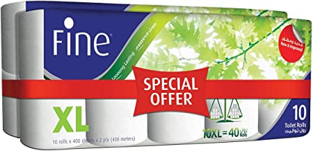 FINE Extra Long Toilet Tissue Rolls - Pack of 20 Rolls, 400 Sheets x 2 Ply