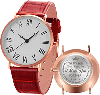 Personalized Wrist Watches for Son Engraved Gifts Graduation Birthday Minimalist Ultra-Thin Leather Roman Numerals