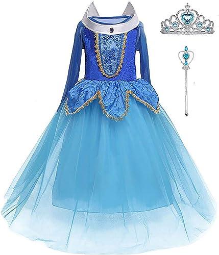 LiUiMiY Déguisement Princesse Fille Costume Enfant Bébé Halloween Carnaval Noël Cosplay Anniversaire Fête avec Baguet...