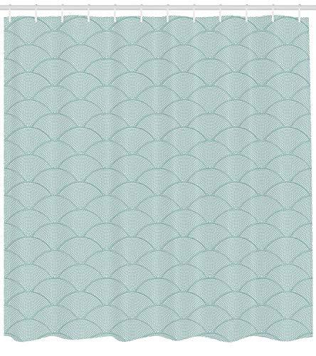 SHUHUI - Cortina de Ducha geométrica, diseño de Escamas de Peces, Puntos semicirculares geométricos, diseño Circular, Tela para Cuarto de baño, decoración, con Seafoam Blanco
