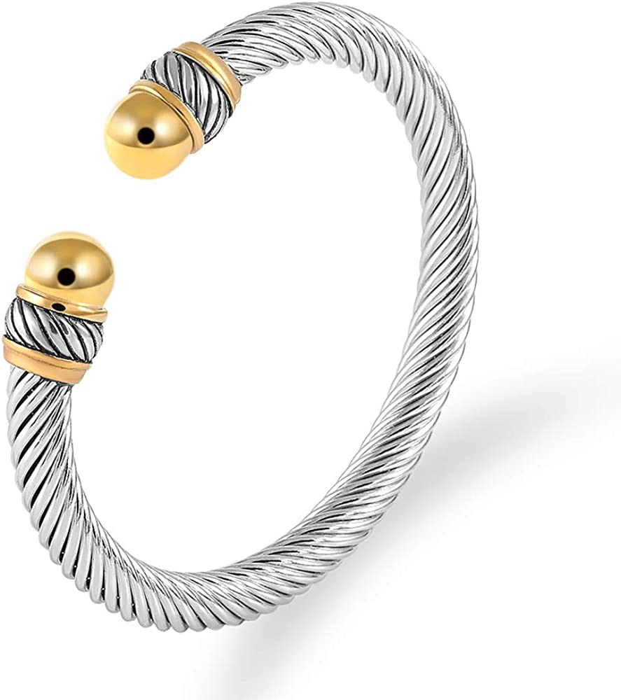 LINFENG Twisted San Antonio Mall Cable Cuff Ranking TOP15 Bangle Bracelet W for Head Pearl with