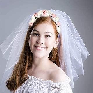 Aukmla Hen Party Crown Bride Party Headband Bride Headpiece with Veil Bridal Shower Hair Accessory